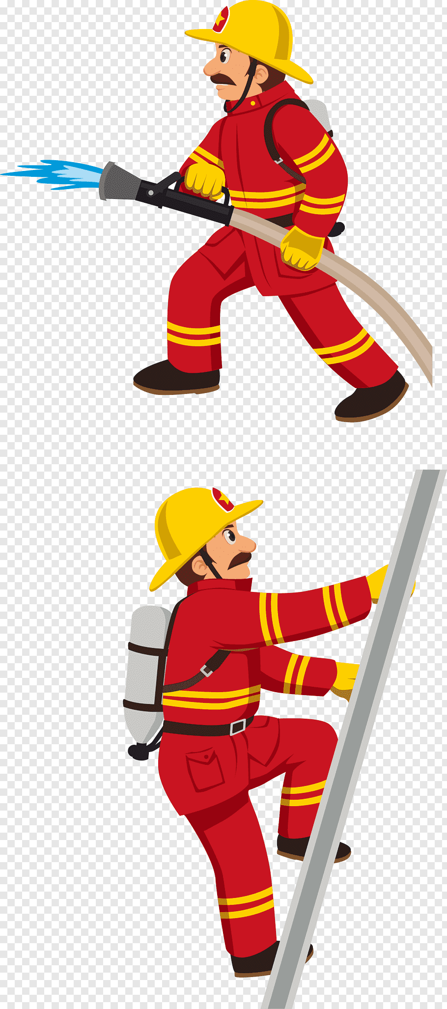 Firefighter holding house and climbing on ladder.