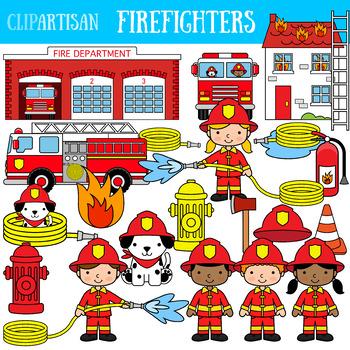 Firefighter Clip Art, Fire Truck.