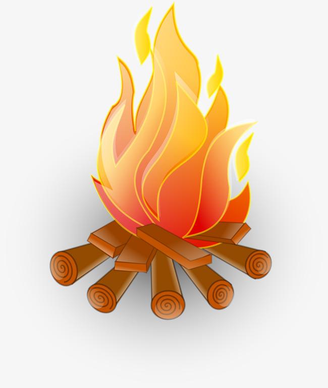 Burning Wood Clipart.