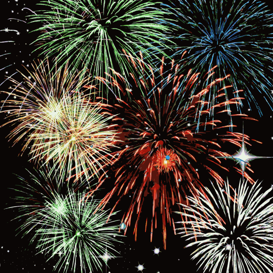 New Year Fireworks Cartoon clipart.