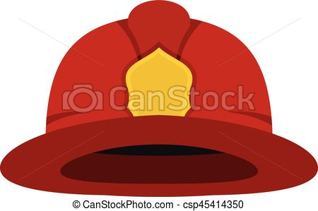 Red fireman helmet icon, flat style.