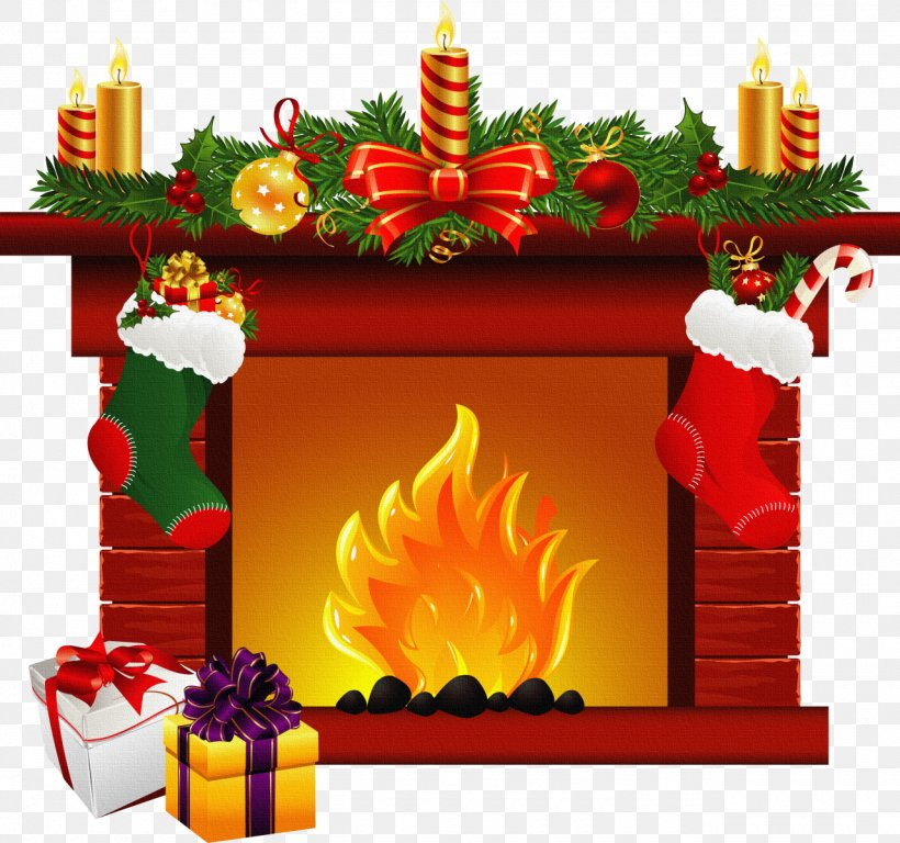 Santa Claus Christmas Fireplace Mantel Clip Art, PNG.