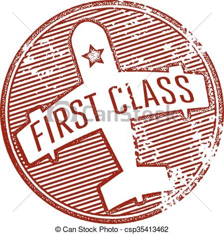 Clip Art Vector of First Class Travel Stamp.