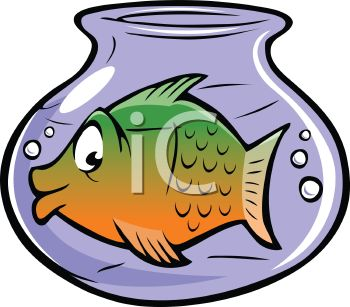 Cartoon of a Large Fish in a Small Fish Bowl.