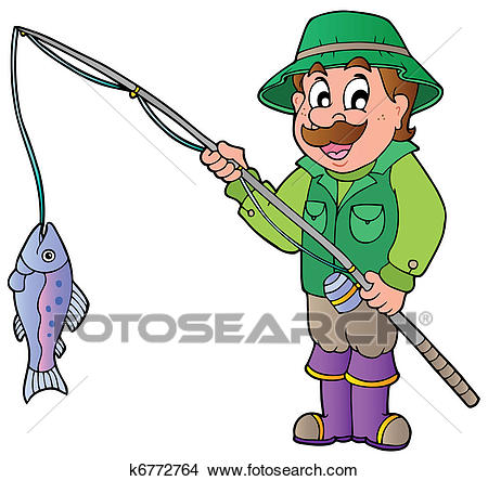 Cartoon fisherman with rod and fish Clipart.