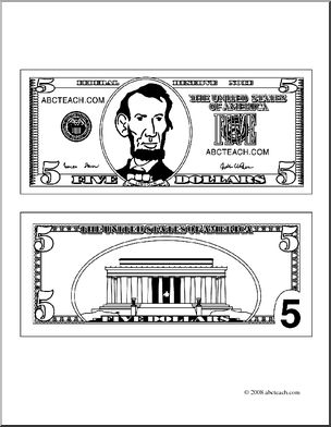 Clip Art: Five Dollar Bill Outline (coloring page) I.
