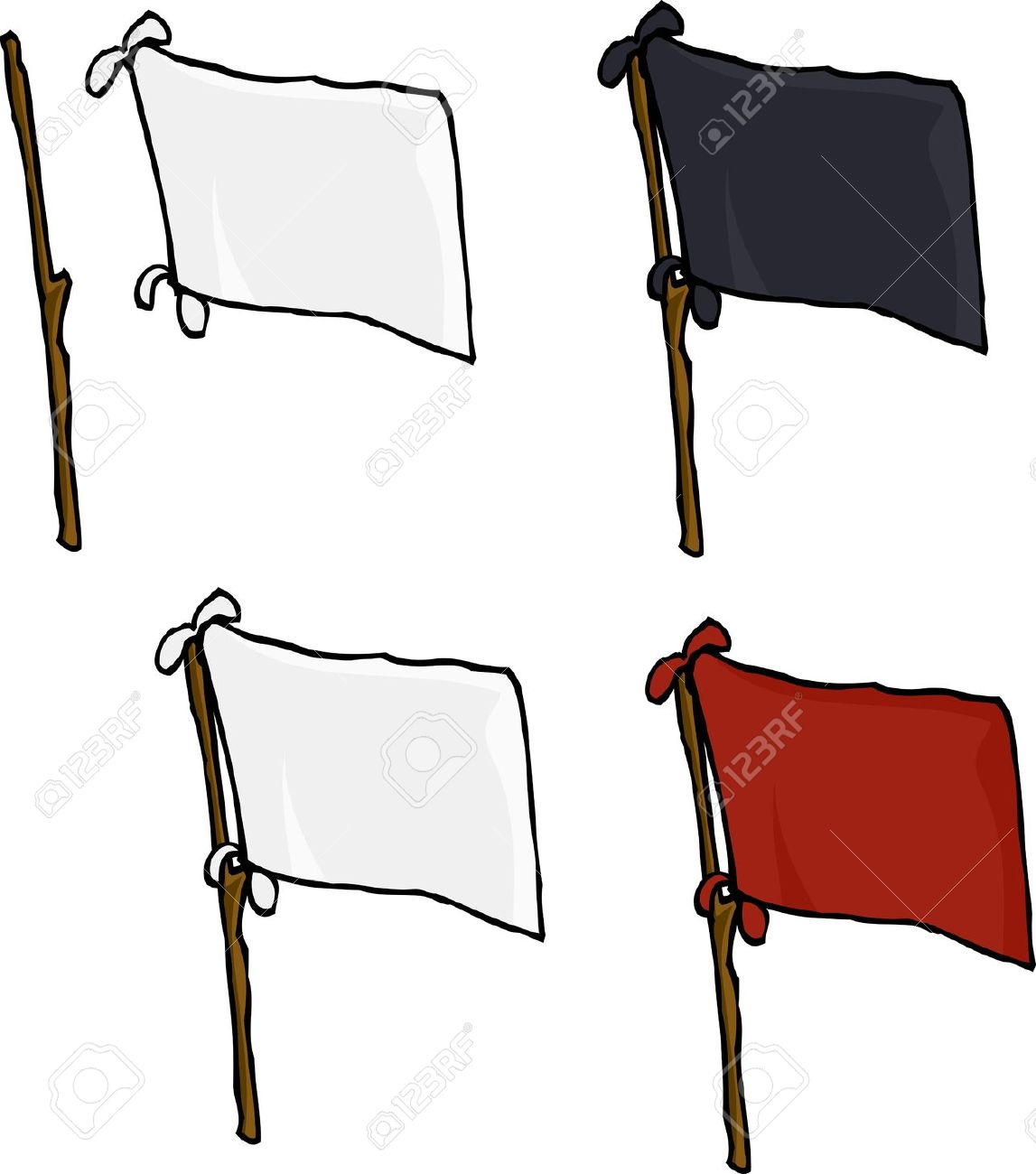 Blank Flags Made From Sheets On Stick Over White Background.