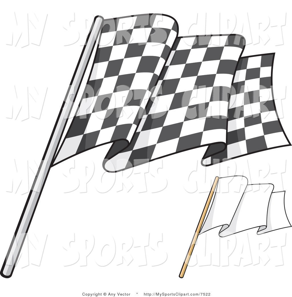 Sports Clip Art of a Checkered Flag and Blank Flag by Any Vector.