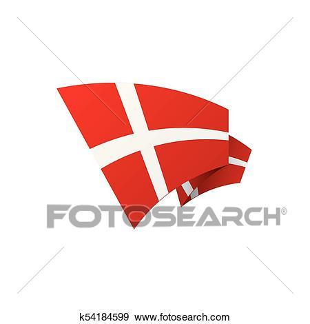Danmark flag, vector illustration Clip Art.