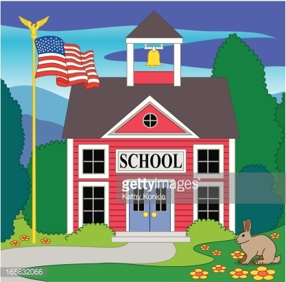 School With Flag Clipart.