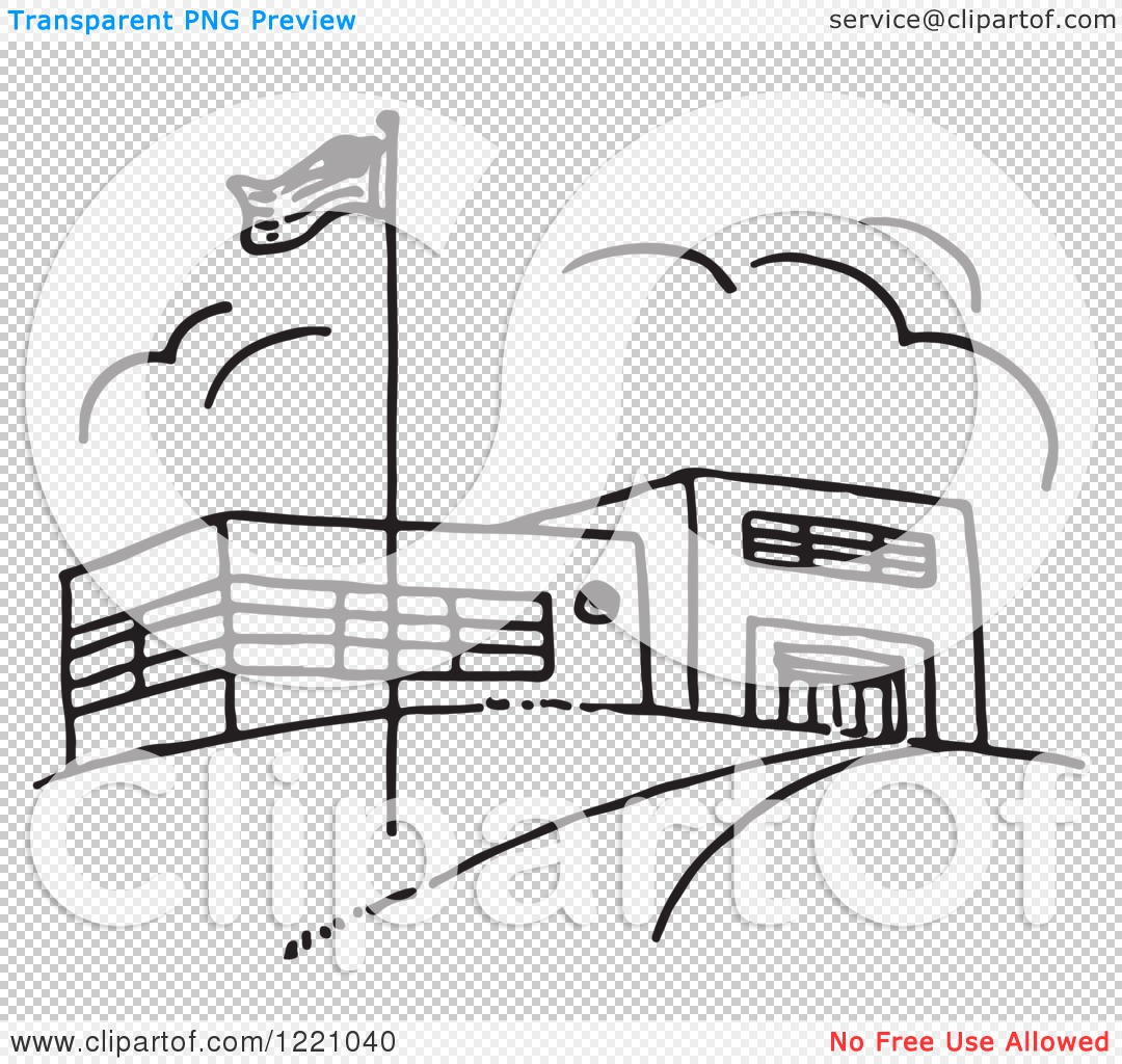 Clipart of a Black and White Flag and School Building.