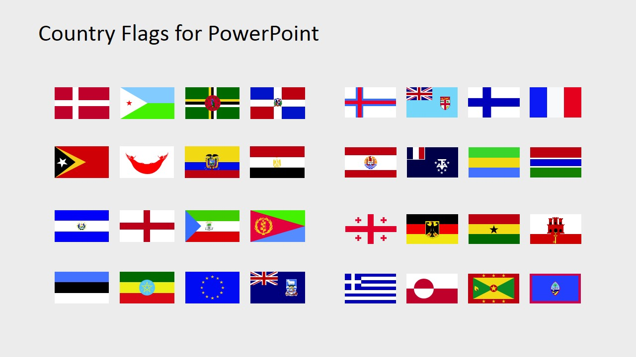 Country Flags Clipart for PowerPoint (D to G).