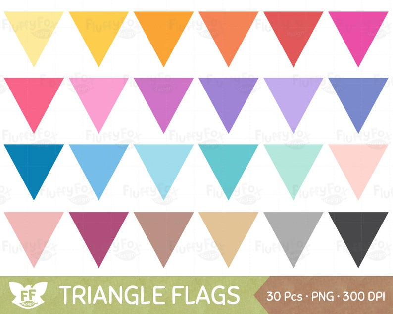 Triangle Bunting Flag Clipart, Flags Banners Clip Art, Pennant Colorful  Rainbow Graphic Tag Label, Digital PNG Download, Commercial Use.