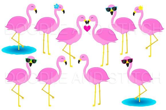 Flamingo Clipart Illustrations.