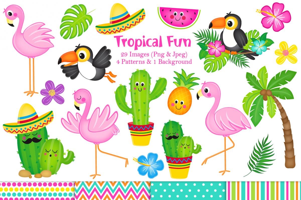 Flamingo clipart, Flamingo graphics & Illustrations, Cactus.