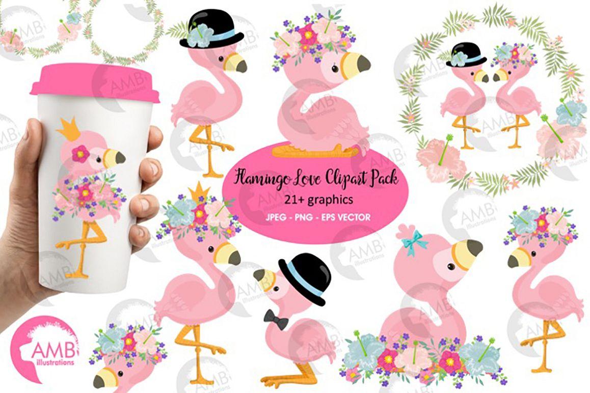 Flamingo clipart, flamingo LOVE clipart AMB.