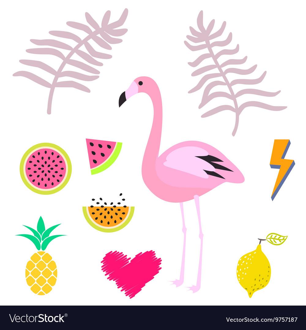 Summer pink flamingo clipart icon set.