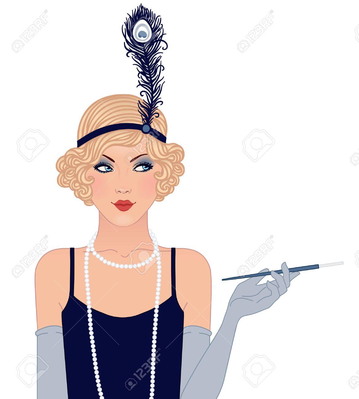 Flapper girl: Retro party invitation design. Vector illustration..