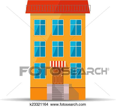 Flat colourful icon of retro house with red roof Clipart.