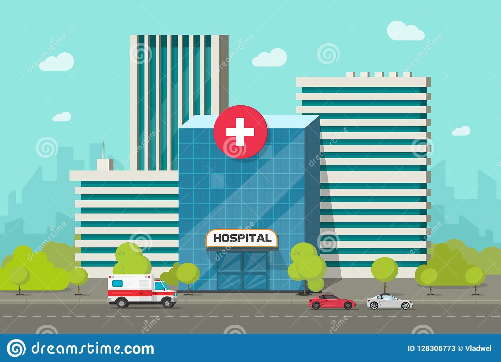 Hospital Building Vector Illustration, Flat Cartoon Modern Medical.