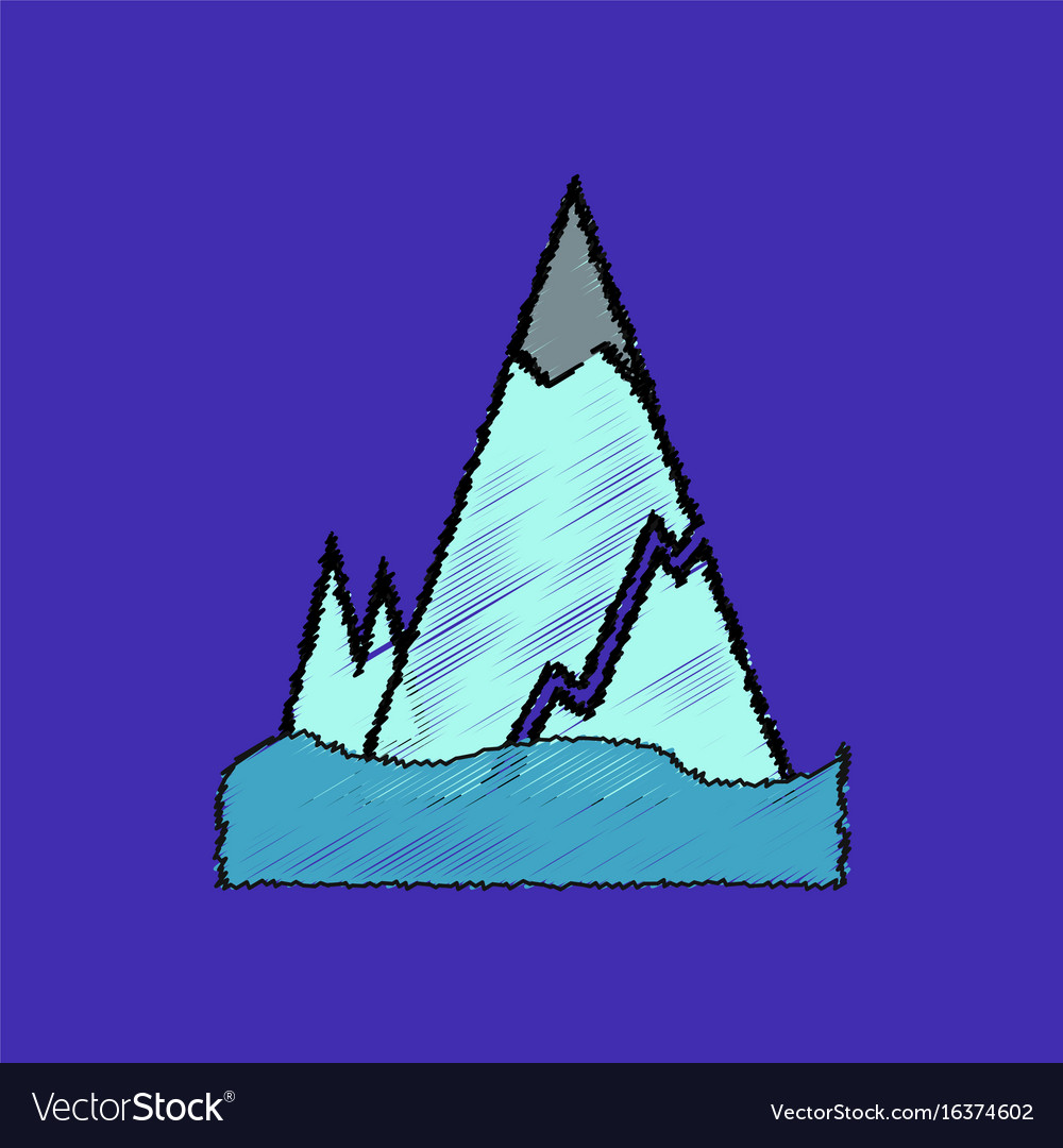 Flat shading style icon iceberg with crack.