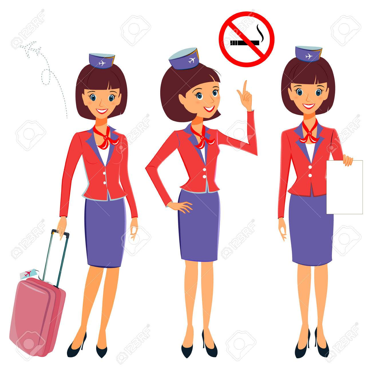 Flight attendant in different working situations set. Vector...