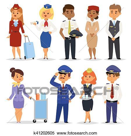 Vector Illustration pilots flight attendants. Clipart.