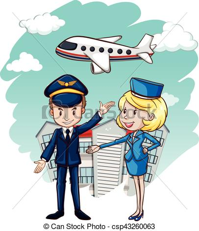 Pilot and flight attendant with airplane in background.