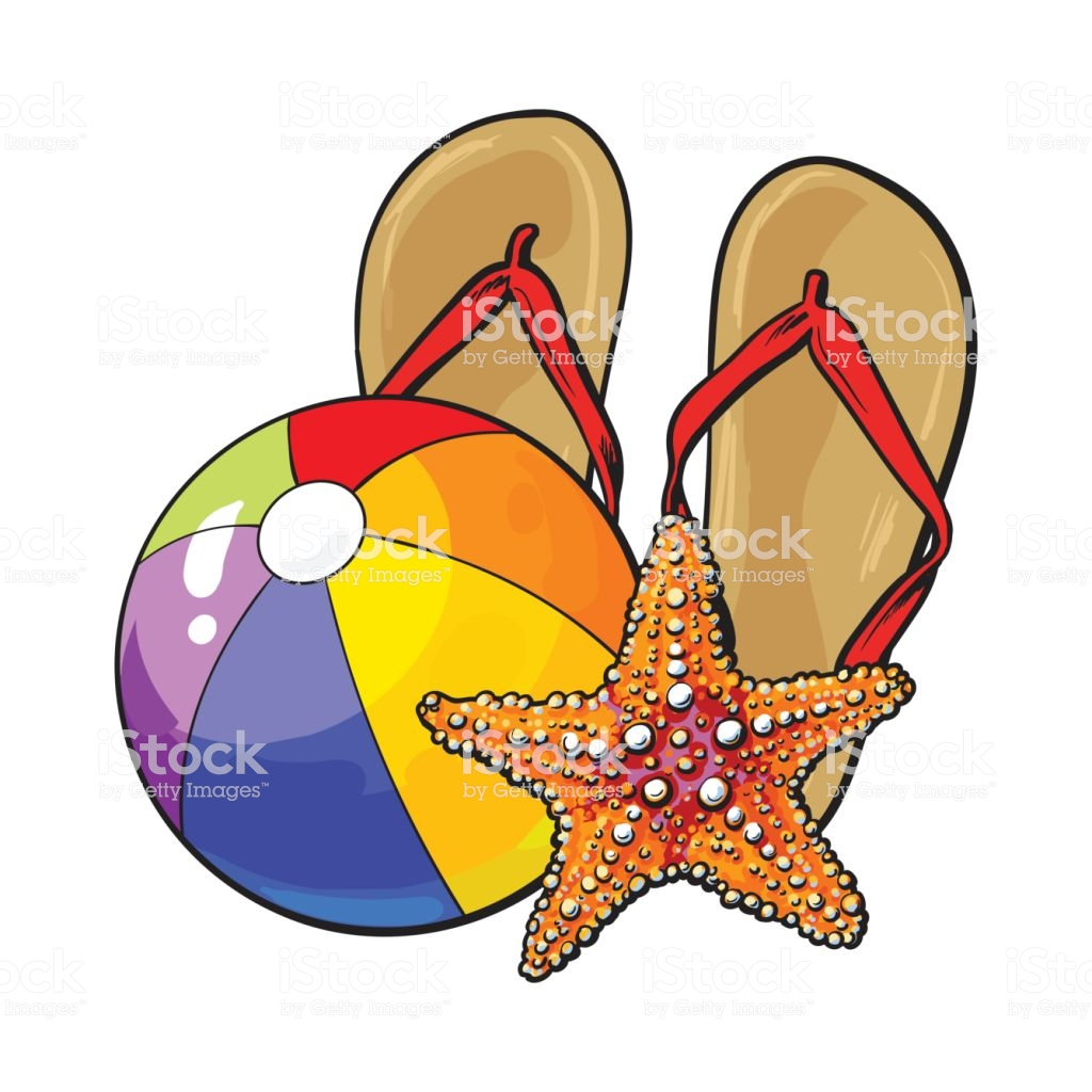 Flip Flops Starfish And Inflatable Beach Ball Summer Vacation Concept Stock  Illustration.