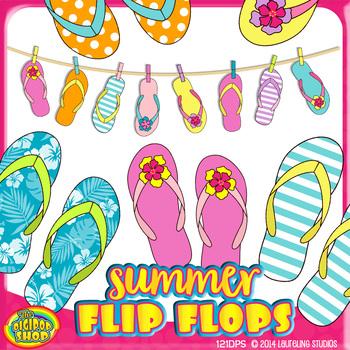 summer flip flop clip art with flipflops on clothesline// 36 .png files.