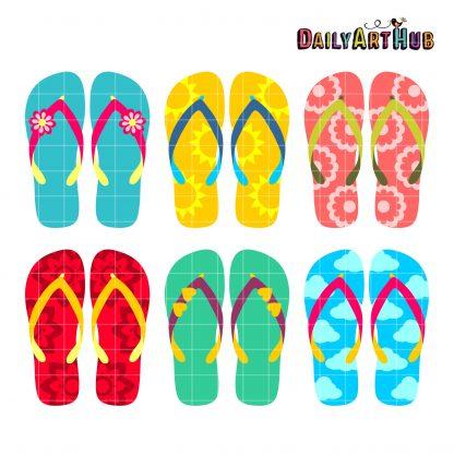 Summer Flip Flops Clip Art Set.