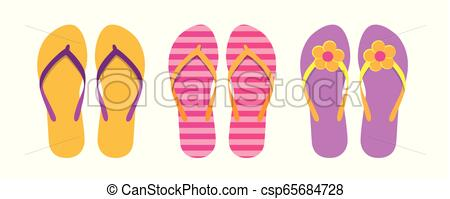 set of colorful flip flops summer collection swim wear with flower.