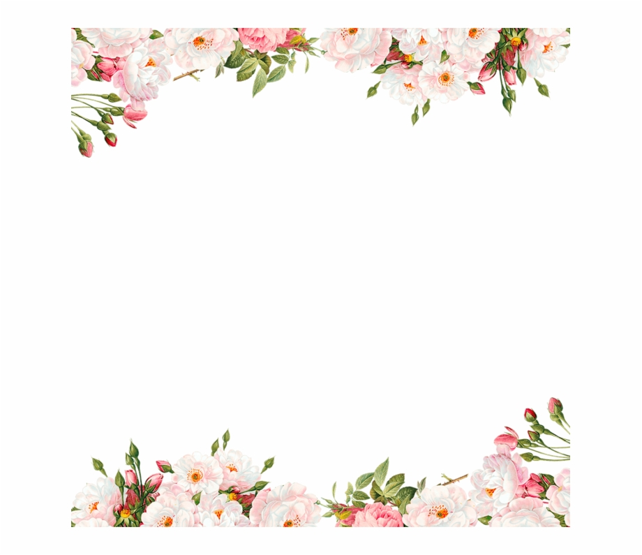 Watercolor Flower Border Png.