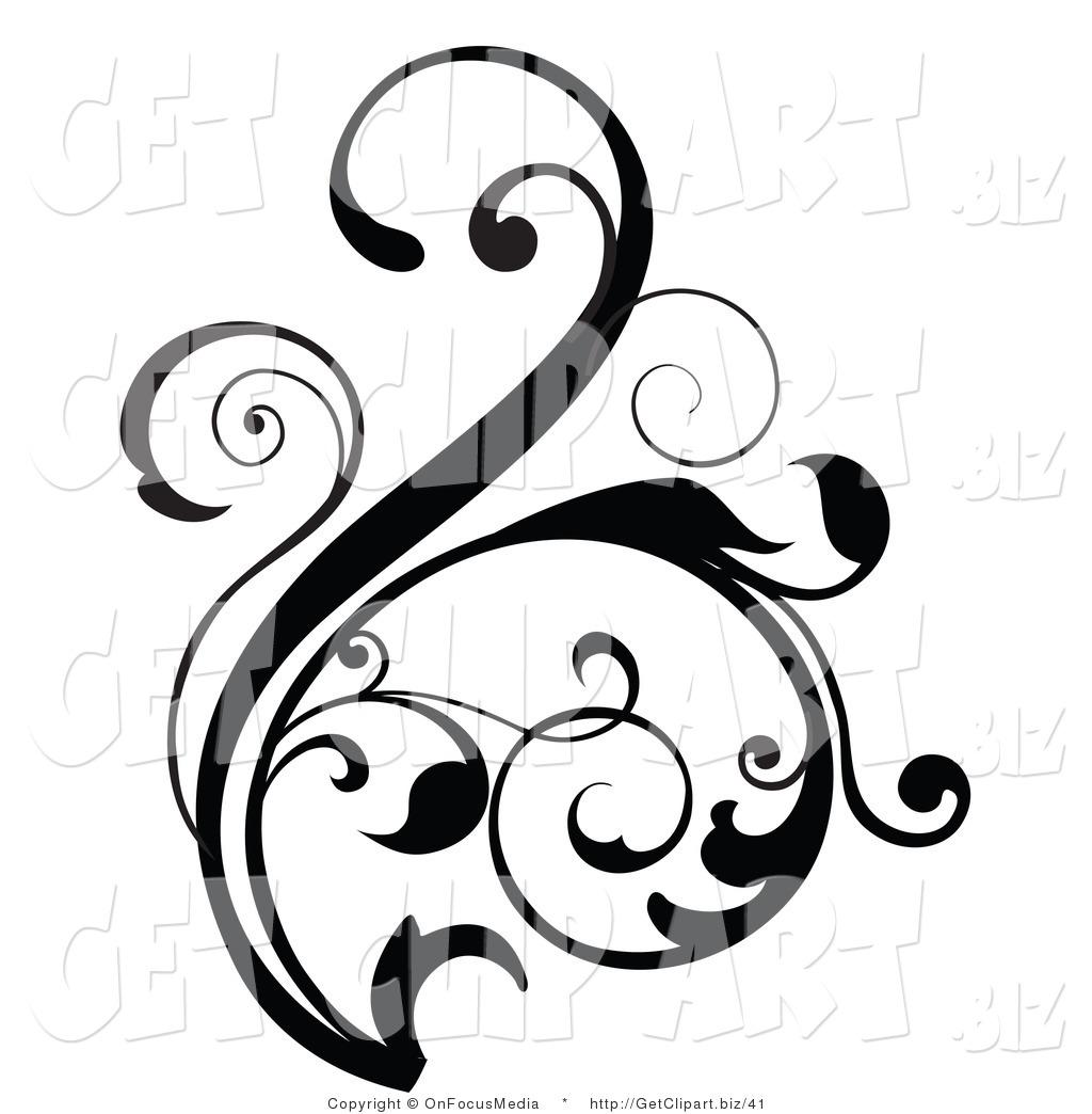 Flower Scroll Clipart.