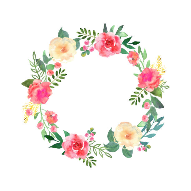 Best Floral Wreath Watercolor Illustrations, Royalty.