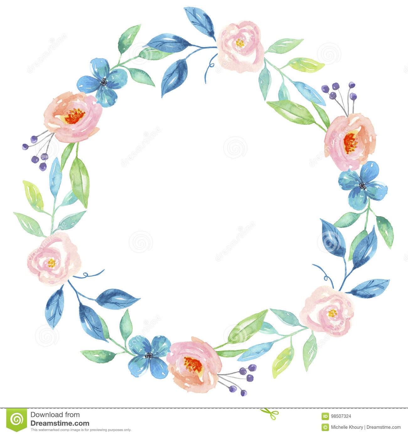 Blue Watercolor Flower Hand Painted Garland Floral Wreath Stock.
