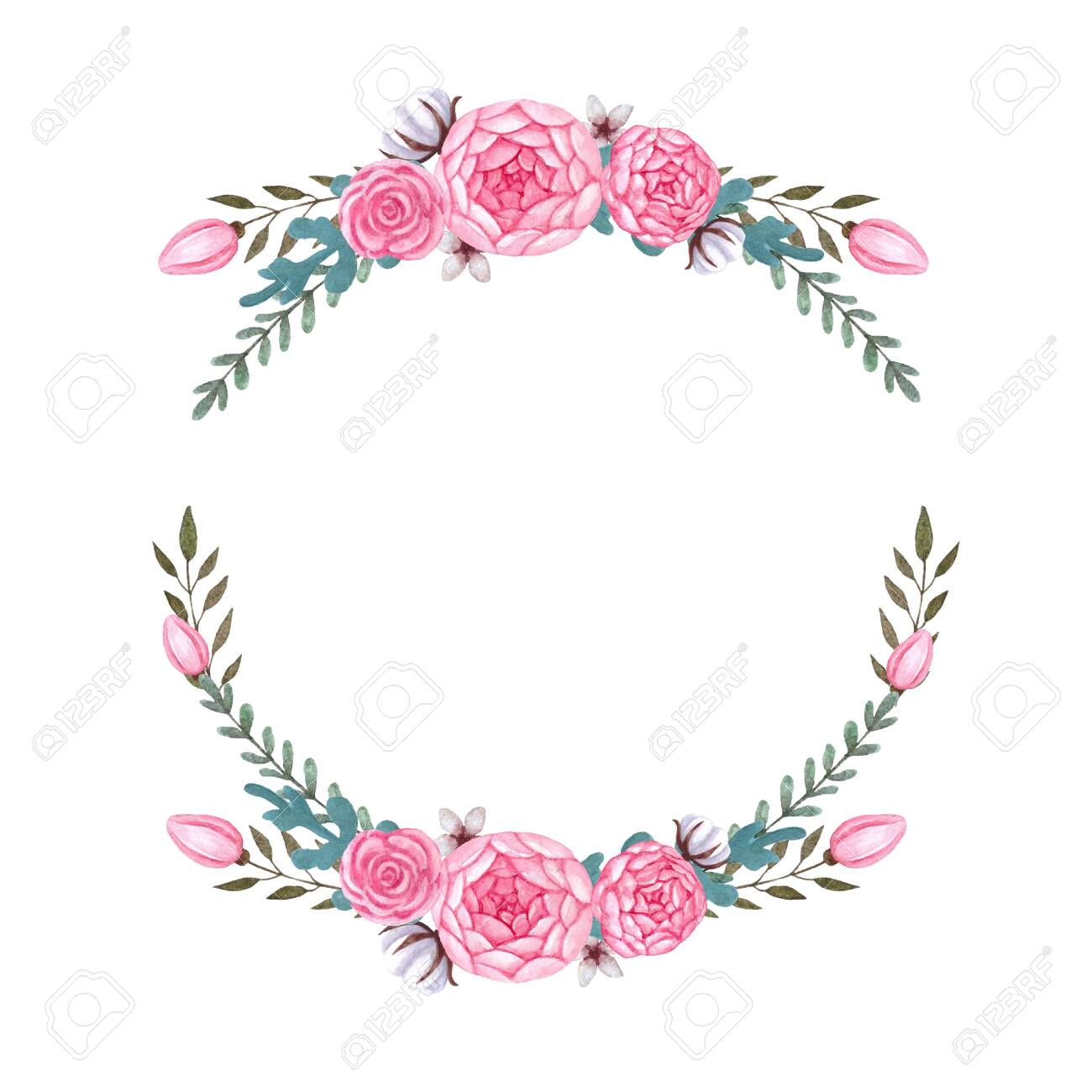 Watercolor pink flowers Floral Wreath Peony Flowers Isolated...