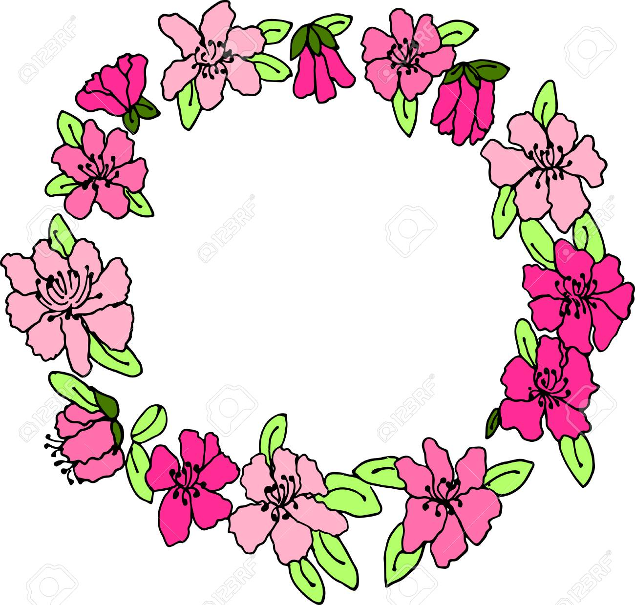 Bright pink hand drawn floral wreath, floral wreath clip art.