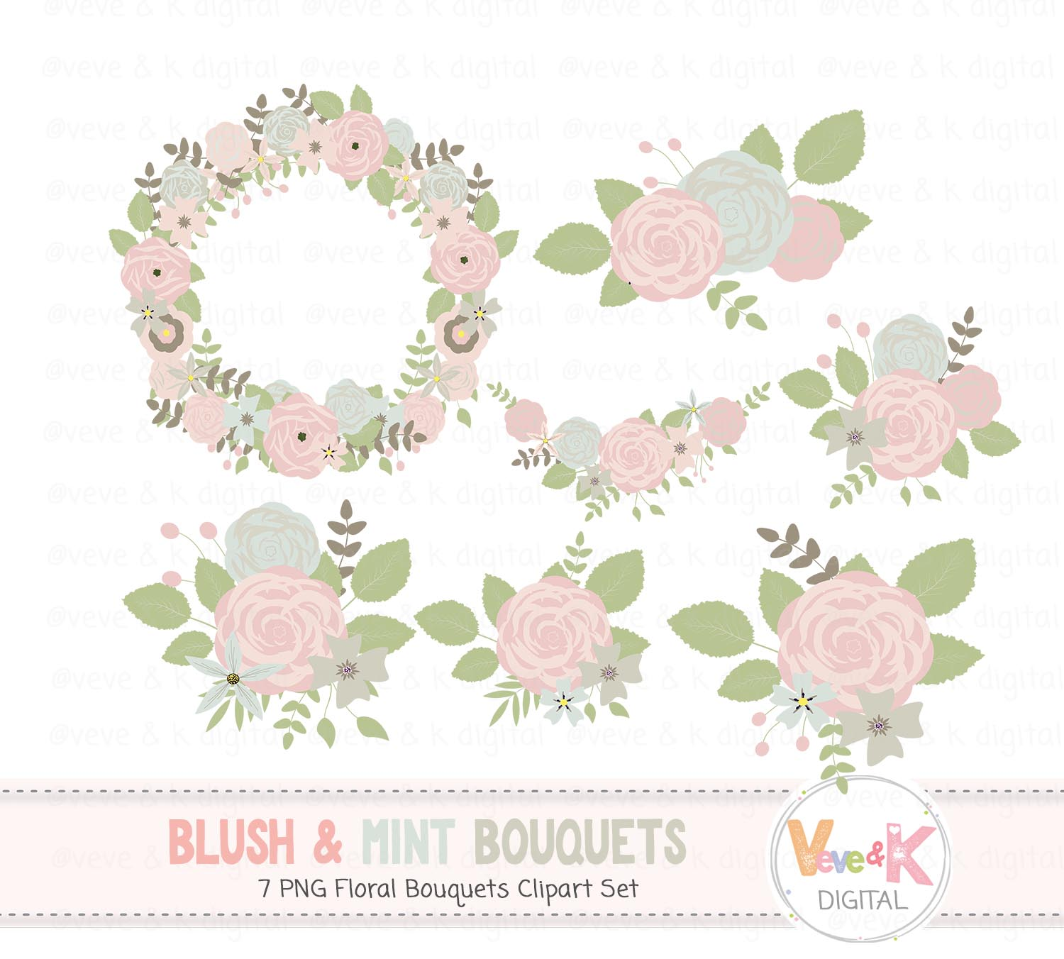 Blush And Mint Floral Bouquets Clipart, Floral Wreath Clipart, Clipart  Flowers, Floral Graphics, Wedding Clipart, Baby Girl,.
