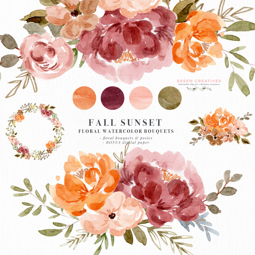 Watercolor Fall Floral Clipart, Orange Rust Thanksgiving Invitation Flowers  Graphics.