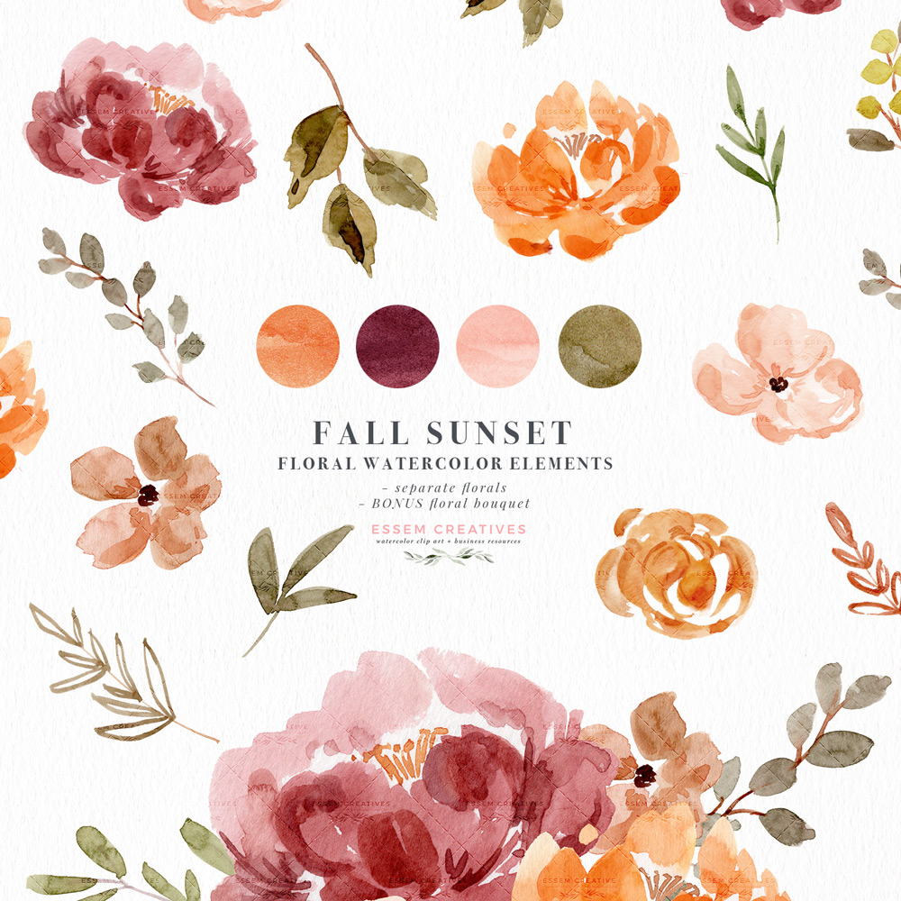 Fall Watercolor Flowers Clipart Graphics with Transparent Background,  Orange Rust Thanksgiving Florals.