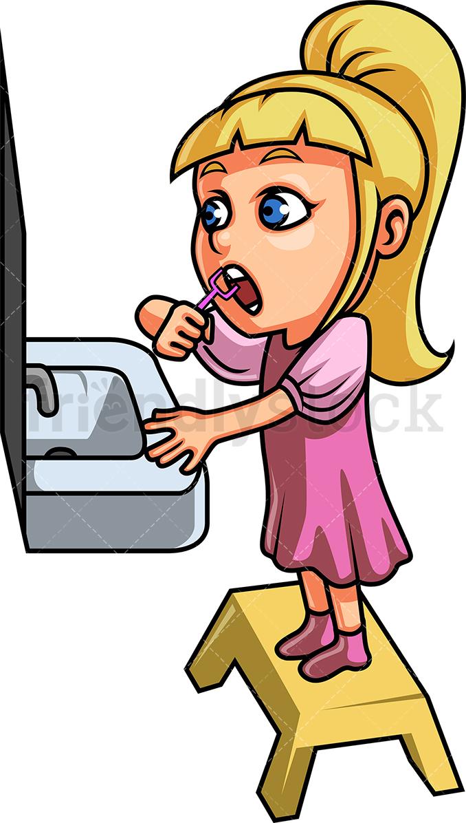 Little Girl Using Dental Floss.