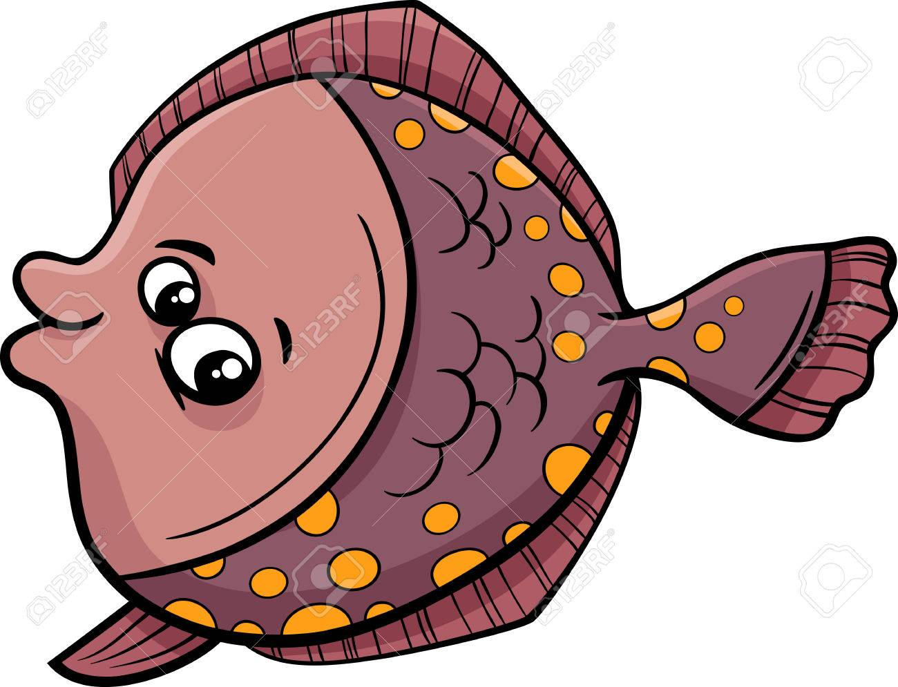 Cartoon Illustration of Funny Flounder Fish Sea Life Animal.