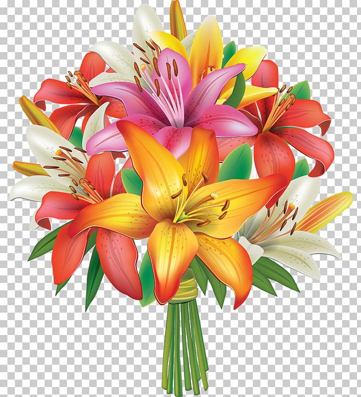 Flower bouquet Lilium , A bouquet of flowers PNG clipart.