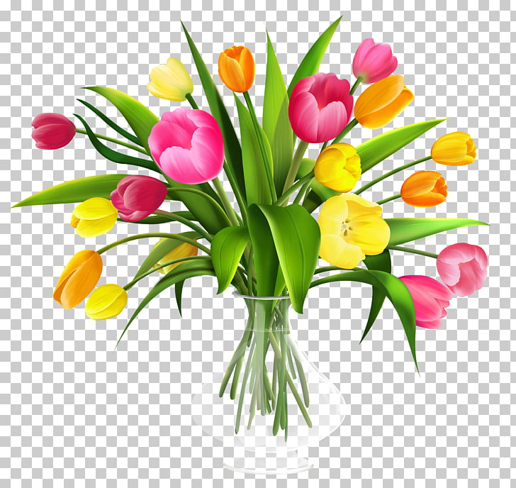 Tulip Flower bouquet , Vase with Tulips , yellow and pink.