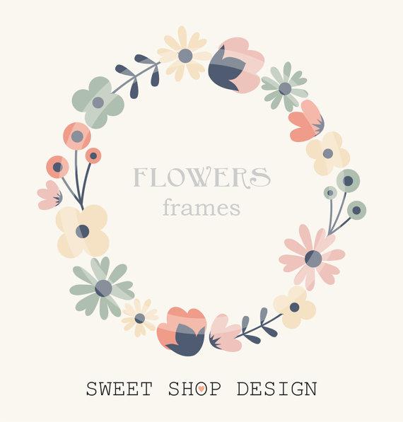 Flower Border Clip Art, Frames, Royalty Free Clip Art, N02.