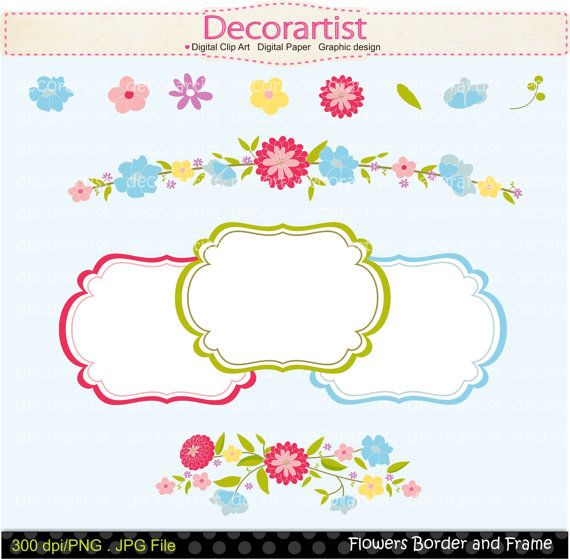 Flowers clipart, border clipart, frame clipart,cards making.