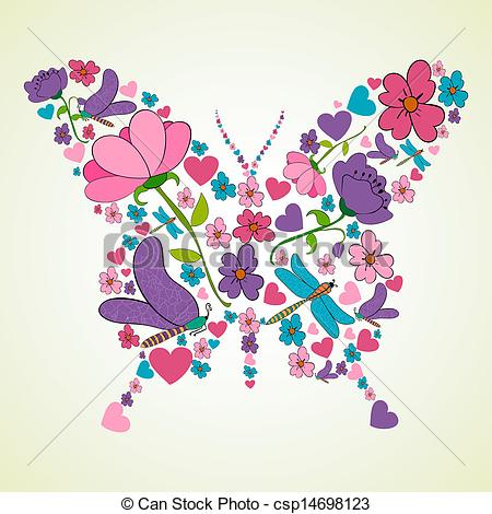 Vector Clipart of Beautiful spring flowers butterfly shape.