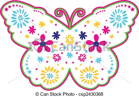 Clipart Vector of butterfly and flower illustration csp2497235.