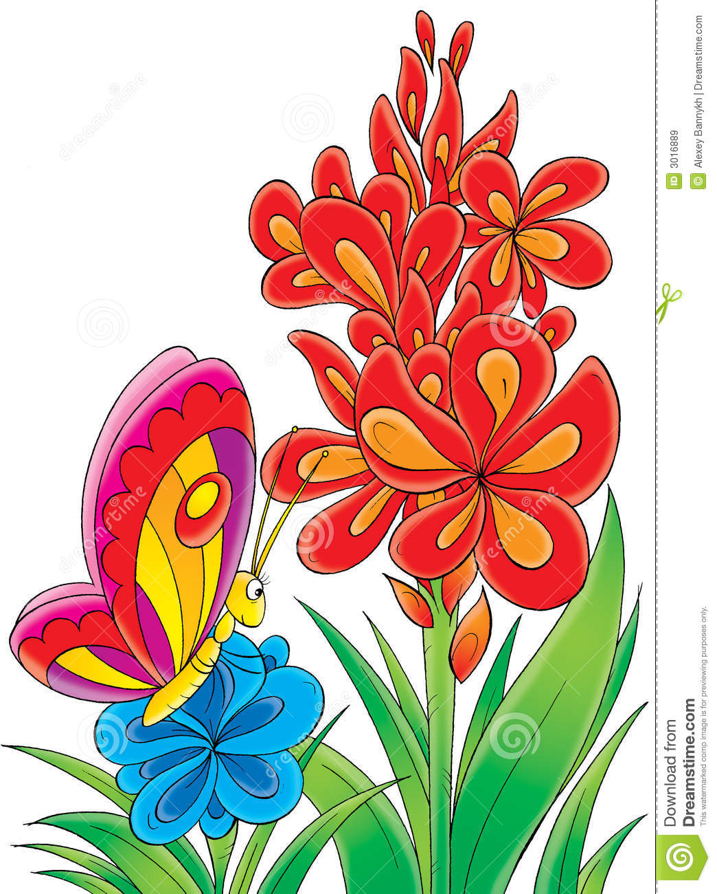 Butterfly and flowers clipart.
